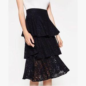 NEW Zara Lace Tiered Navy Midi Skirt